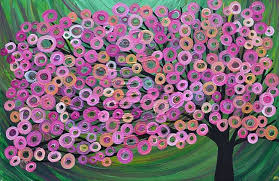 """Pink & Green Tree Painting by Artist Louise Mead."" Source: ebsqart.com. (Website link embedded within photo.)"