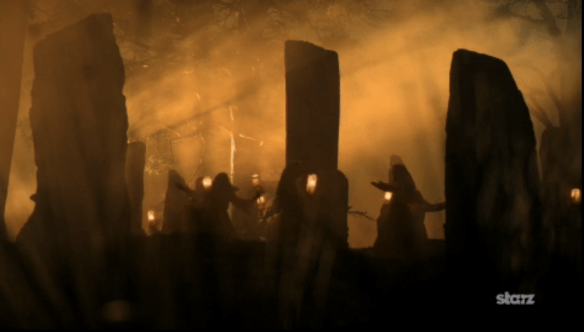 Druid ceremony before the break of dawn. Outlander. Photo by Starz, source: professionalfangirls.com