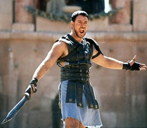 Russell Crowe wearing leather armour in Gladiator via fanshare.com