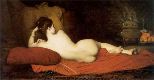 "Photo via Te de Violetas. Original source, Wikipedia. Painting,  ""Odalisca"", 1874, by Jules Joseph Lefebvre."