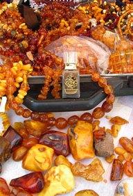 """Photo by AbdesSalaam attar of his Baltic """"Amber Suitcase."""" Source: La Via del Profumo website."""