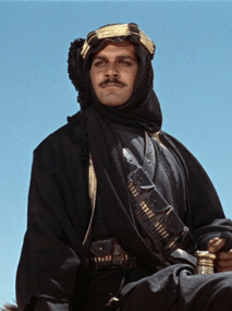 Omar Sharif in Lawrence of Arabia via Wikipedia.