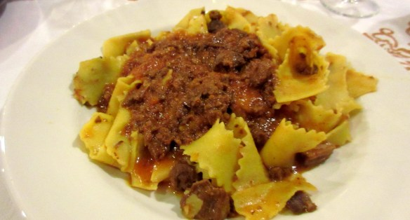 Tagliatelle with wild boar, a local and Tuscan speciality. Photo: my own.