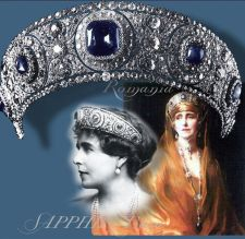 Queen Marie's famous Cartier sapphire tiara, though she also had a Cartier necklace with a massive sapphire too. Photo: Pinterest.