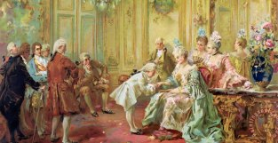 "Vicente de Parades, ""The presentation of the young Mozart to Mme de Pompadour at Versailles."" Source: paintingandframe.com"