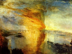 """Turner, """"The Burning of the Houses of the Parliament,"""" 1835, via studyblue.com"""
