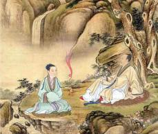 Taoist art showing a priest and what looks like incense vapor in pink. Image source: formlesstaoism.com