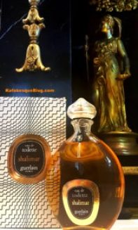 """1976 vintage Shalimar Eau de Toilette, 8 oz bottle. The box is the post-1967, black and white """"zig zag"""" or """"zebra box"""" with a 1967 copyright date but the long numeric code on the box and bottom of the bottle are the real proof of age. Photo: my own."""
