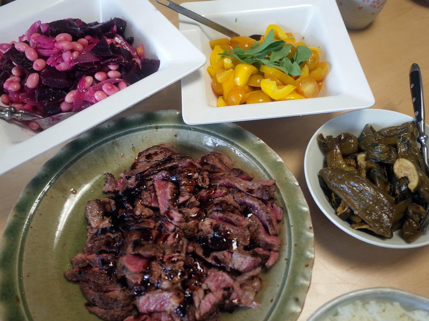 タリアータとイタリアン野菜