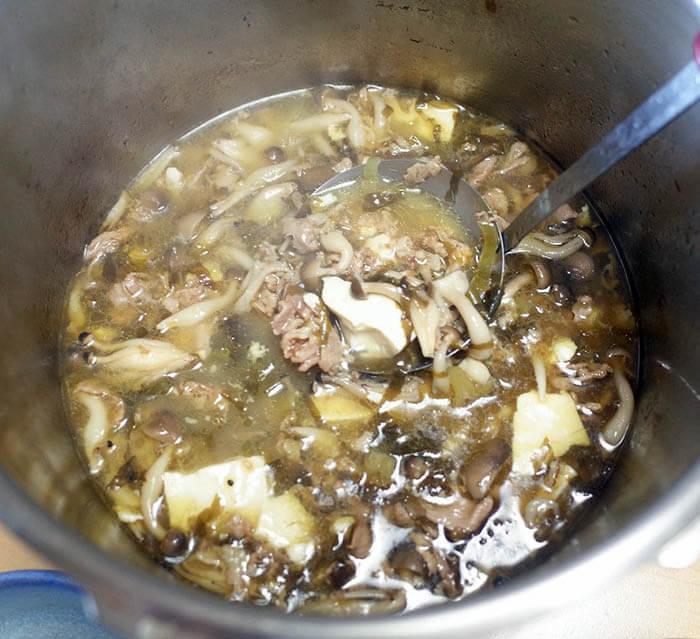 高菜と豚肉と豆腐のスープ