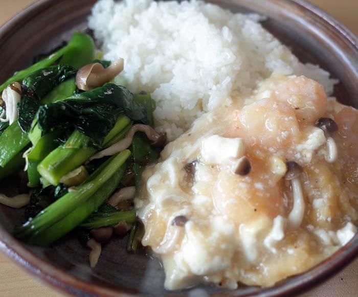 芝海老と豆腐の中華風うま煮と春野菜の中華炒め