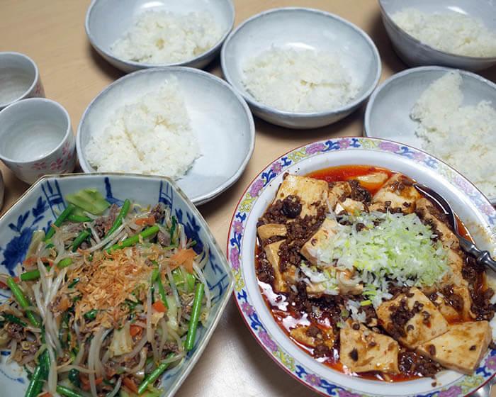 麻婆豆腐&肉野菜炒め