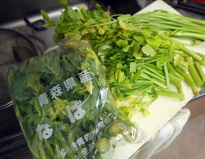 セリと菜花の中華炒め