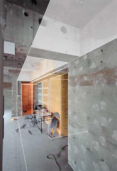 廊下の天井高さと壁埋め込み本棚のスケッチ