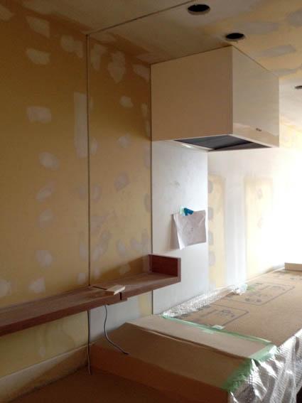 キッチンと洗面のガラス間仕切り