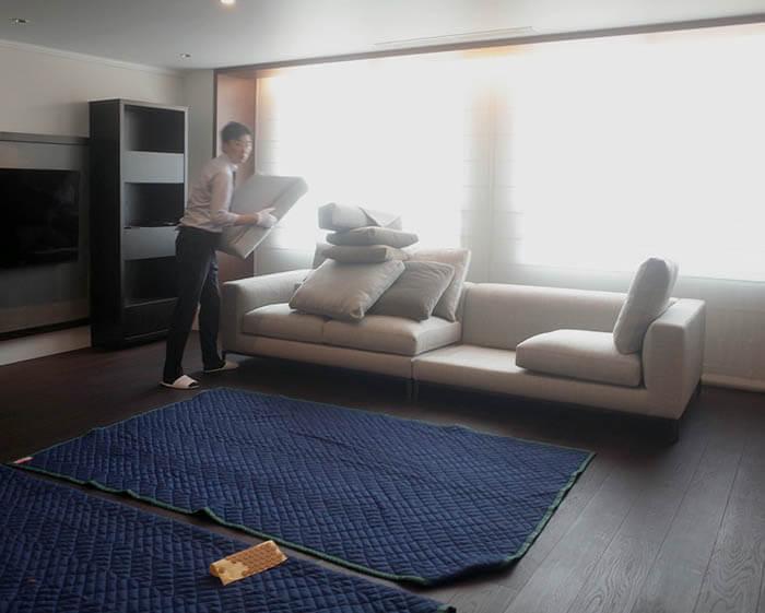 ミノッティのソファの組み立て設置@白金台E邸