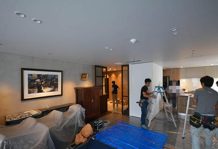 白金台E邸 リビングダイニングの照明器具追加工事