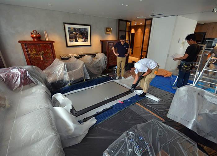 モルテーニのダイニングテーブル搬入@白金台E邸