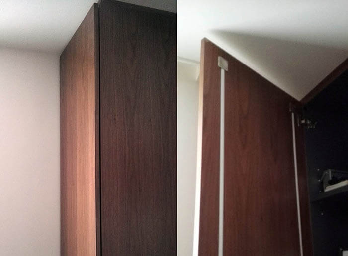 収納扉背面のそり止め加工