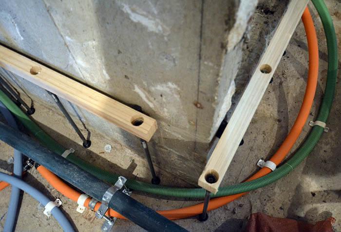 ヴィンテージマンションリフォームの床遮音下地_際根太作り