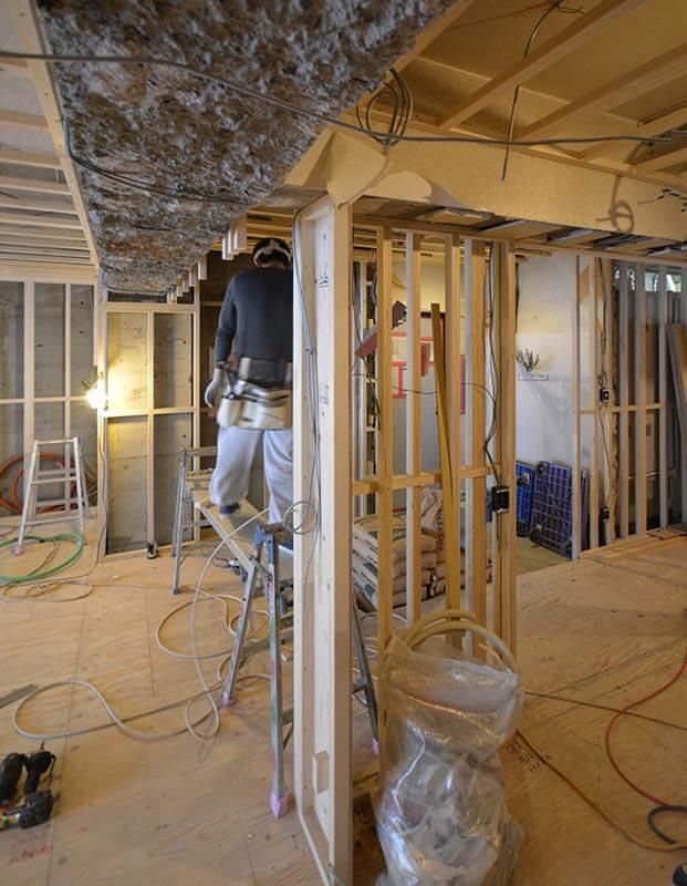 キッチン背面壁下地