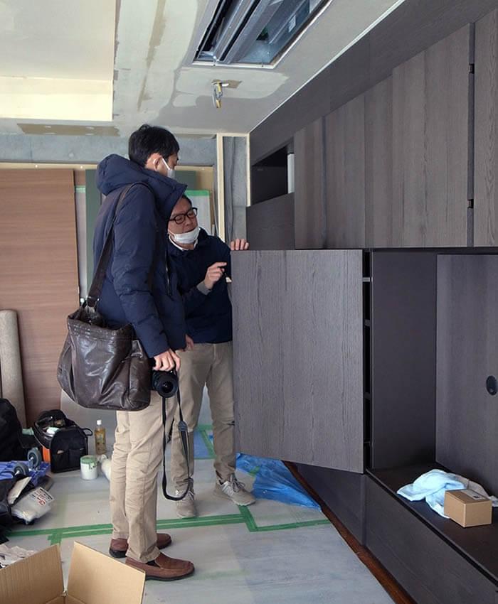 モルテーニ壁面収納の組立て確認