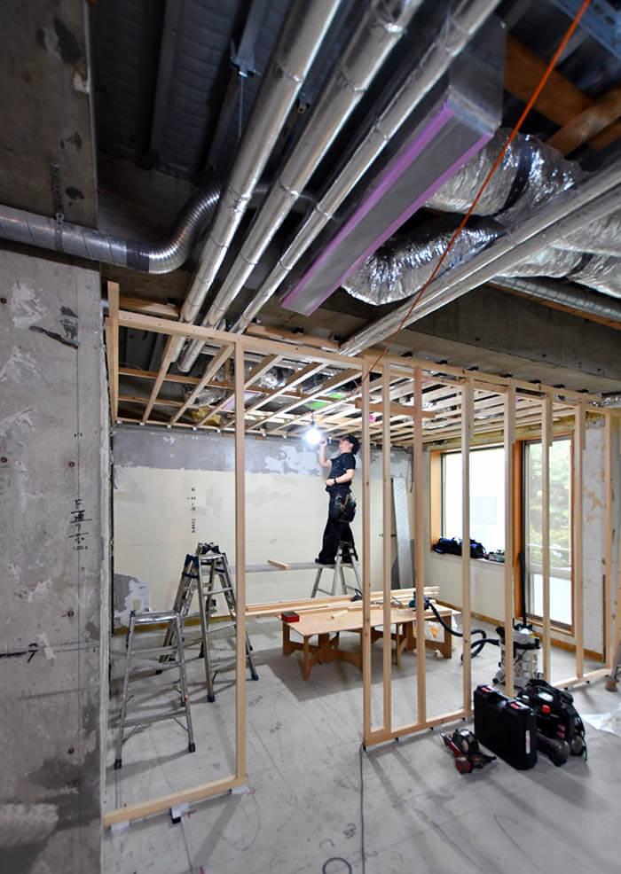 木製の壁&天井下地作り
