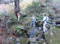 大きな岩場を登ります
