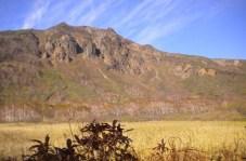 草原の向こうが山頂