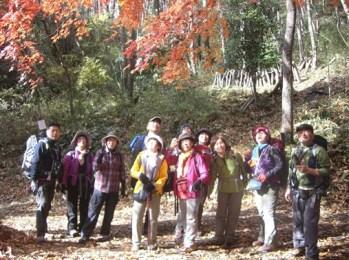 下山途中、紅葉に見とれて思わず見上げる