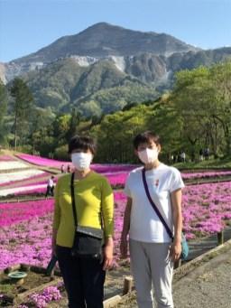 芝桜を武甲山が見守っているようでした