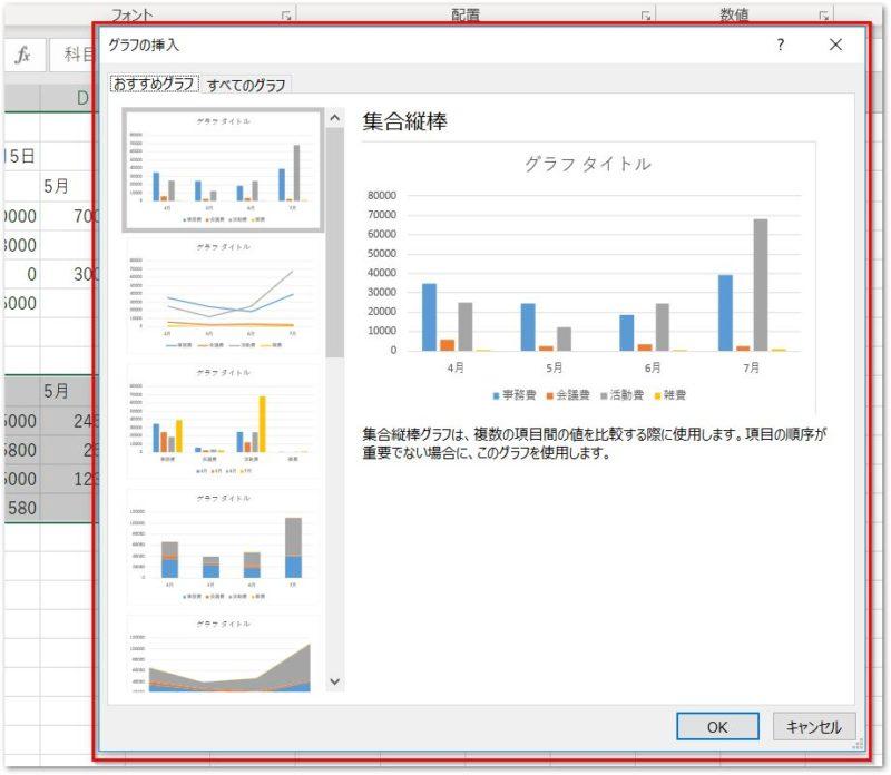 クイック分析ツールのグラフその他のダイアログボックス