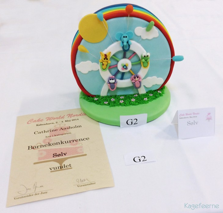 Kage, pariserhjul, cakeworld nordic 2014, børnekage, konkurrence, diplom