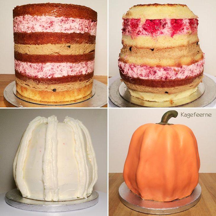 Halloween græskar kage under opbygning med smørcreme og fondant
