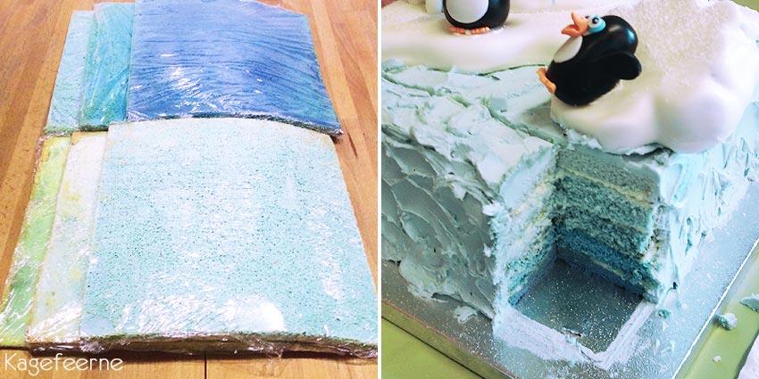 De blå bunde til Pingvin og iglo kage