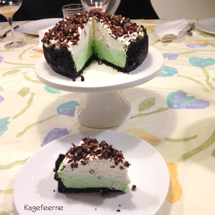 Oreo og pebermynte tærte Græshoppetærte også kaldt græshoppe tærte