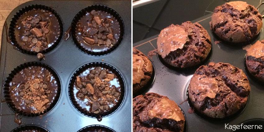 Chokoladeballade cupcakes med chokoladestykker i