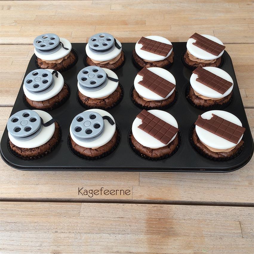 Film tema cupcakes med Filmrulle og chokolade