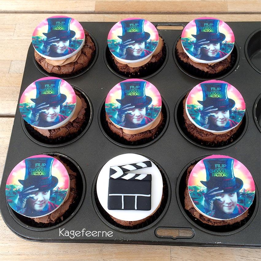 Film tema cupcakes med klaptræ og Charlie and the Chocolate factory