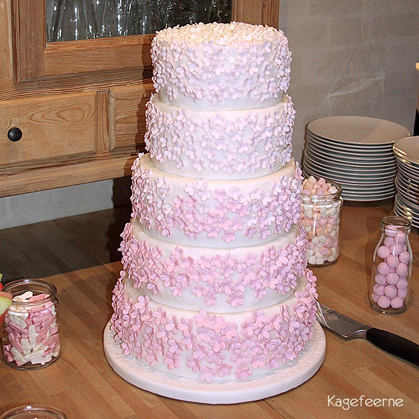 Pink and white flower cake in 5 layers