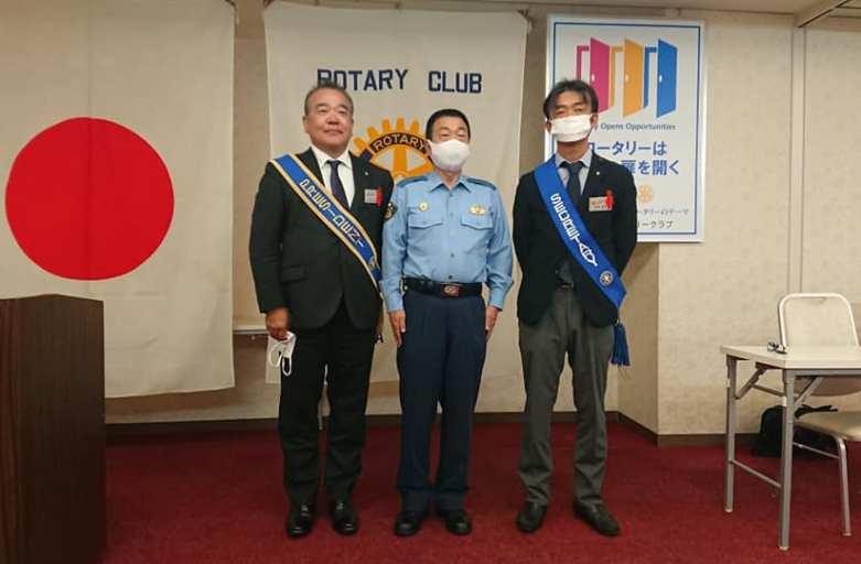 本日の例会!熊谷警察署長の近藤様の卓話