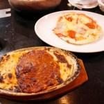 熊谷市肥塚「るーぱん熊谷BP店」のミートスパゲッティグラタンとガーリックサラミピザ