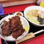 熊谷市柿沼「かみげん」の限定 豚バラソースかつ丼 ラーメン付