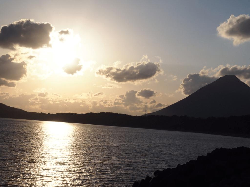 evening view of mountain Kaimon viewed from Sayuri