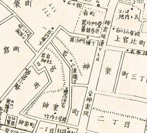明治の神楽坂の小栗横町(地図)