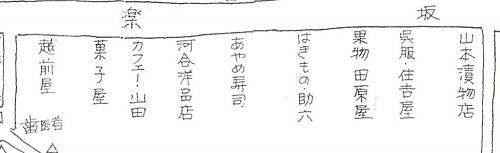 古老の記憶による関東大震災前の形「神楽坂界隈の変遷」昭和45年新宿区教育委員会から