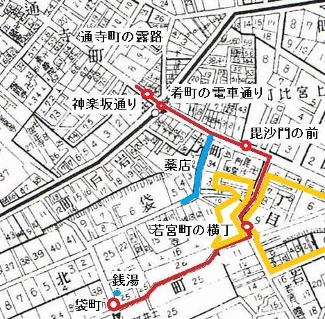 昭和5年「牛込区全図」矢田津世子