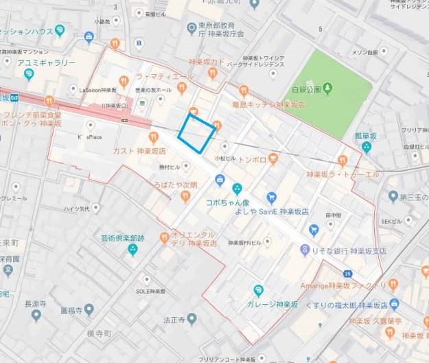神楽坂6丁目(明るい色の多角形)と通寺町