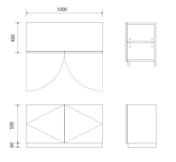 扉の付いた簡単な箱図面