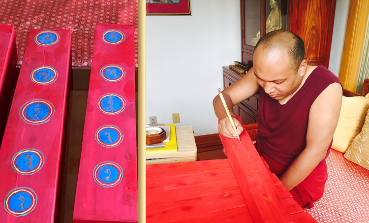 His Holiness painting the life trees